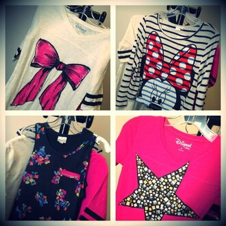 blouse bow t shirt minnie mouse stars