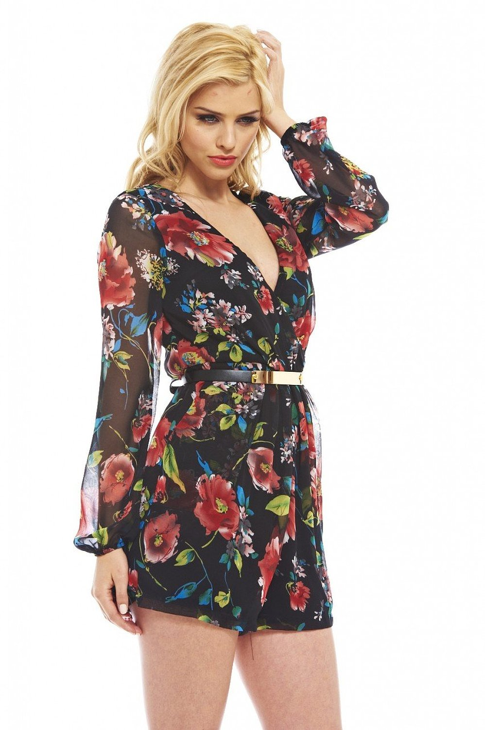 Amazon.com: AX Paris Women's Floral Wrap Front Chiffon Romper: Clothing