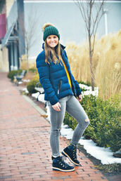 to be bright,blogger,coat,shoes,hat,winter outfits,beanie,boots,blue jacket