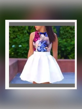 dress flare pleated white flowers skater skirt