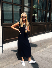 dress,tank dress,tumblr,black dress,maxi dress,casual dress,sneakers,low top sneakers,white sneakers,sunglasses,casual
