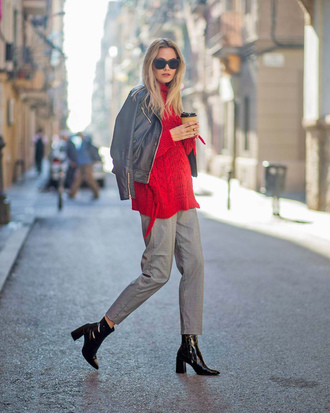 sweater tumblr red sweater knit knitwear knitted sweater pants grey pants boots black boots sunglasses jacket