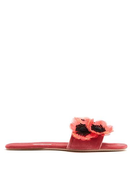 Miu Miu embellished velvet pink shoes