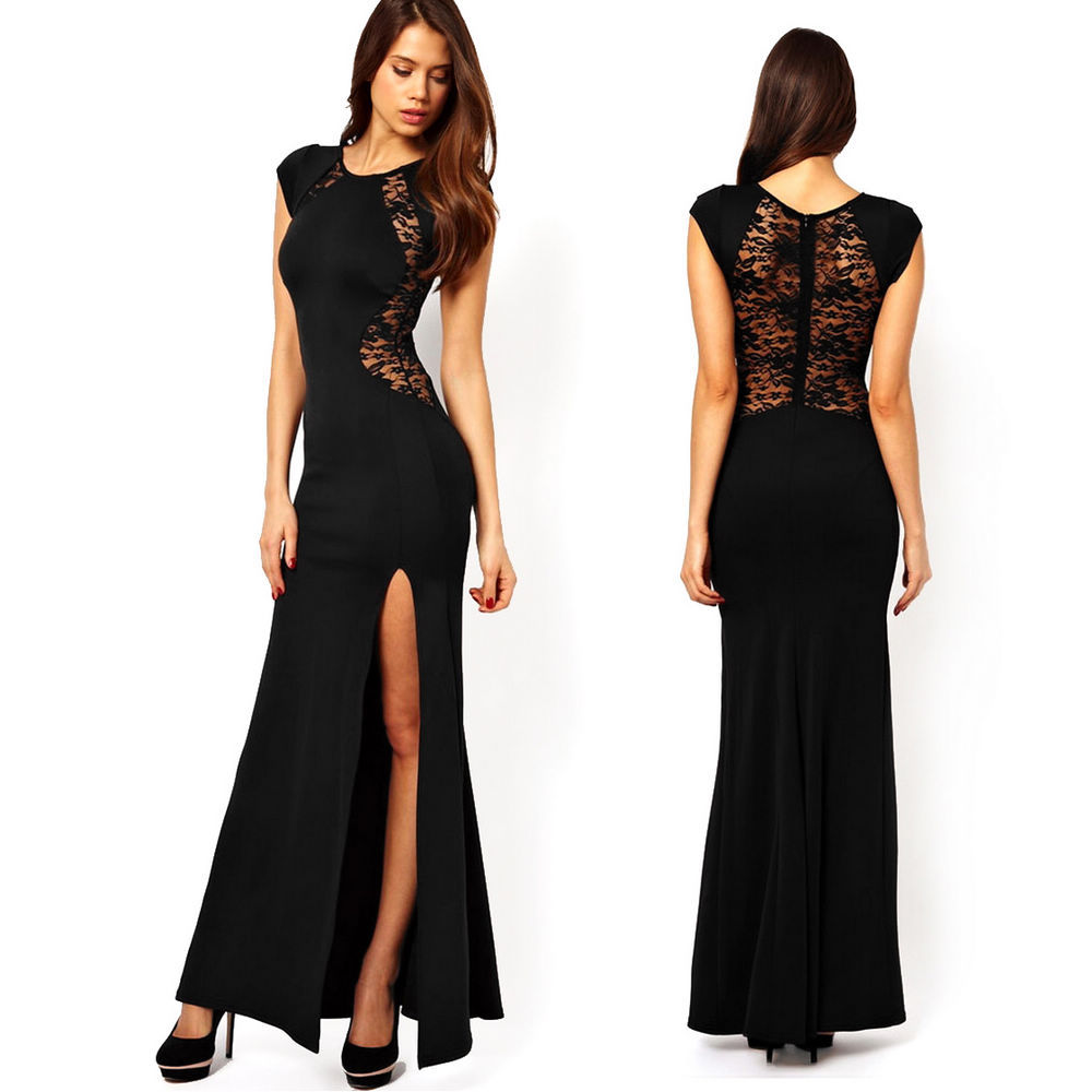 Sexy Women Fashion Black Lace & Knitting Patchwork See through Back Slim Bodycon Split Side Maxi Long Dress Party Club YNE1320-in Dresses from Apparel & Accessories on Aliexpress.com