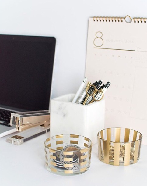 Home Accessory Classy Gold Desk Office Supplies Stationary Metallic Home Decor