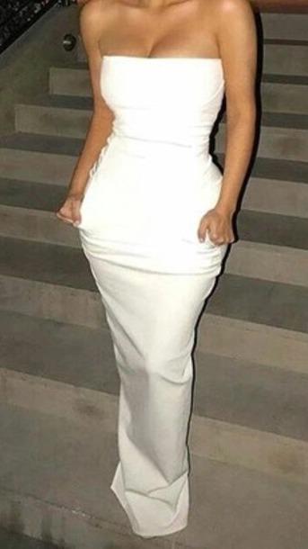 a06132b096 dress white white dress strapless strapless dress bodycon bodycon dress  party dress sexy party dresses prom