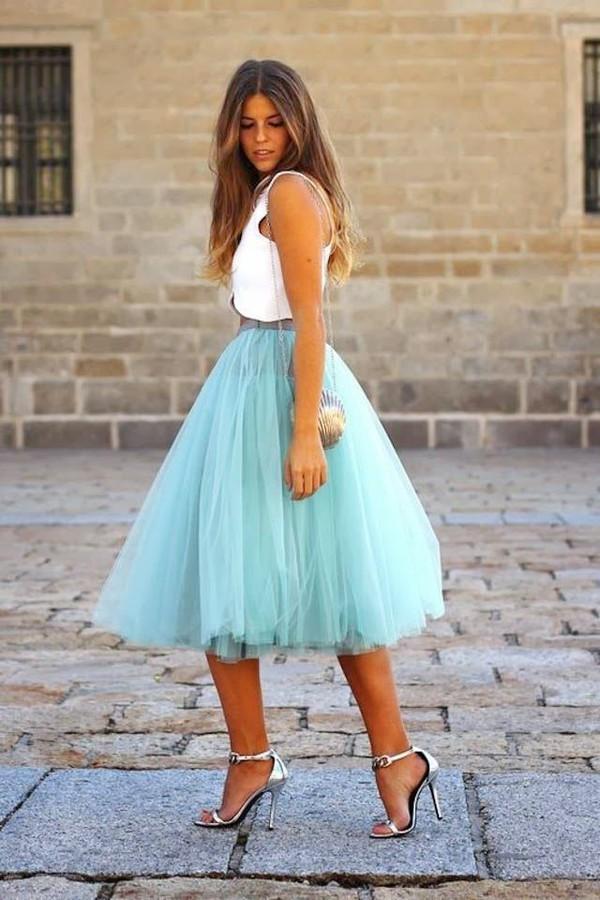 Mint Organza Midi Skirt - Retro, Indie and Unique Fashion
