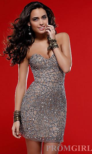 Sequin Embellished Short Dress, Scala Short Sequin Dress-PromGirl
