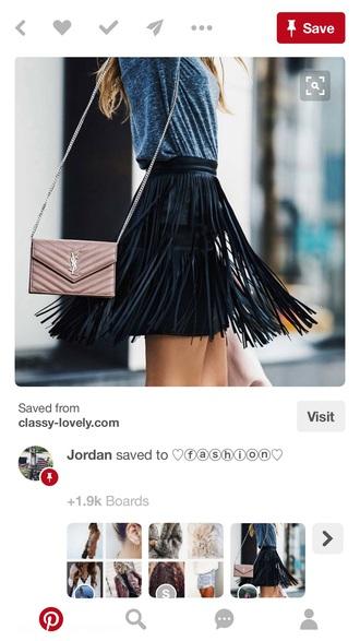 skirt black leather skirt fringes