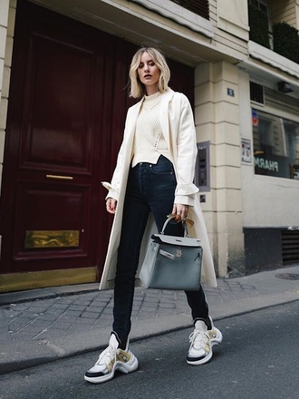 shoes sneakers sweater coat white coat louis vuitton white sweater denim jeans black jeans