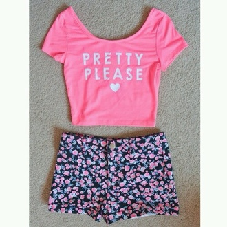 shirt neon neon pink pretty please heart shorts flowers