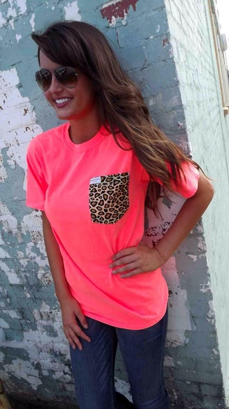 t-shirt pink leopard print pocket pocket t-shirt