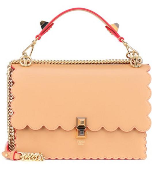 Fendi Kan I leather shoulder bag in beige / beige