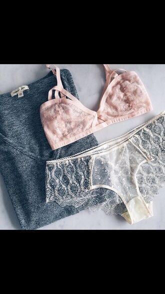 underwear boho peach lace panties lingerie grey sweater