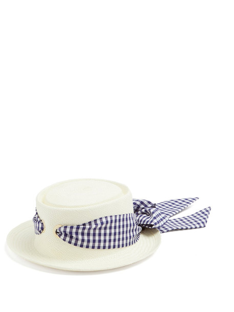 FEDERICA MORETTI Gingham-ribbon bow-tie straw hat in blue / multi
