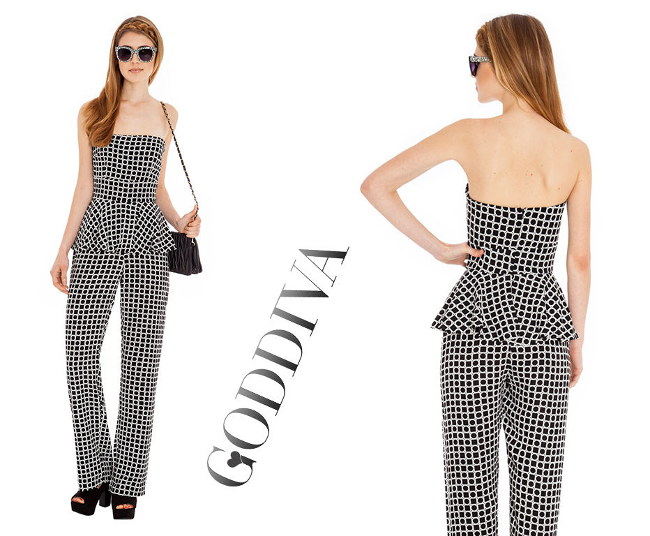 Goddiva Geometric Print Jumpsuit (Mono,Monochrome,Black,White,6,8,10,Peplum) | eBay