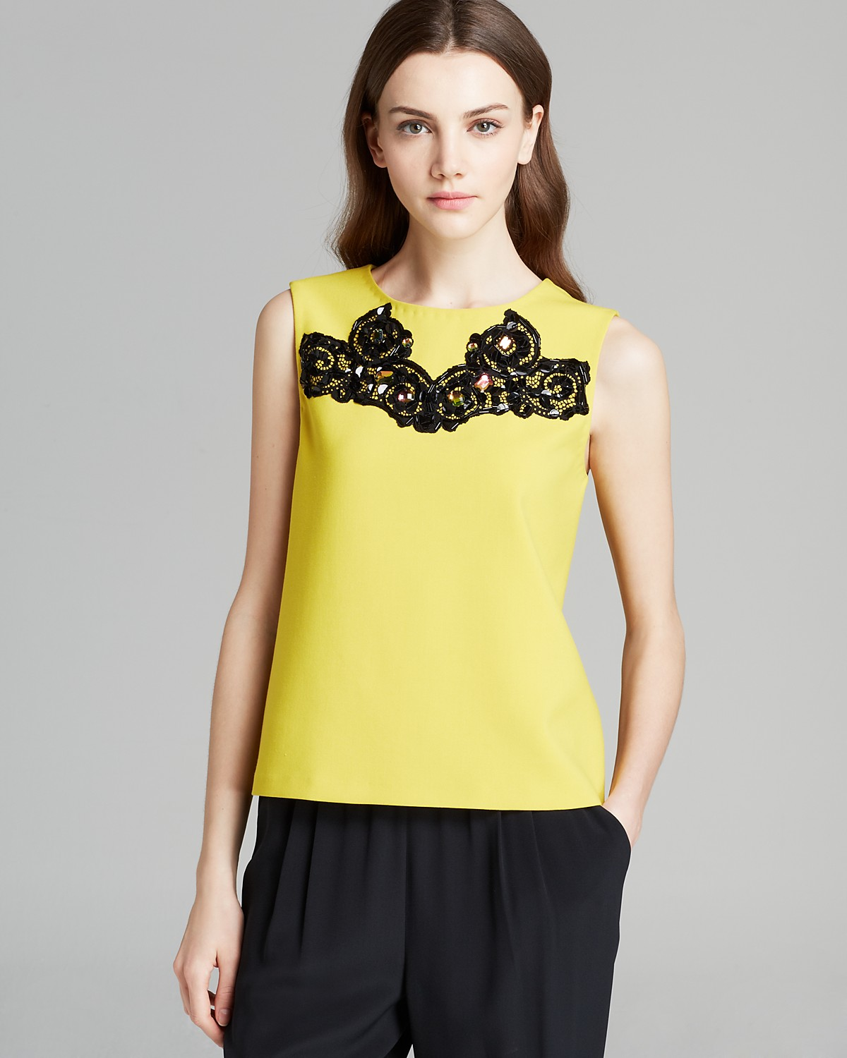 DIANE von FURSTENBERG Tank - Betty Lace Detail | Bloomingdale's