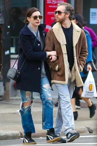 jeans denim ripped jeans anne hathaway coat