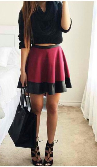 skirt black black skirt burgundy skirt burgundy
