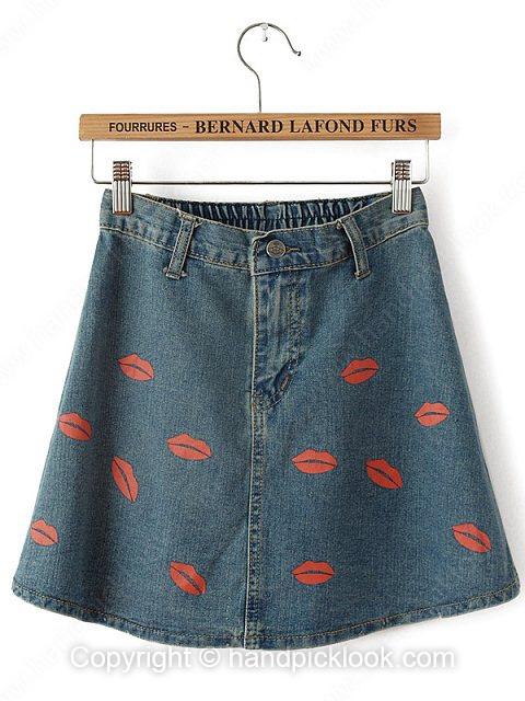 Blue Mid Waist Lips Print Denim Skirt - HandpickLook.com