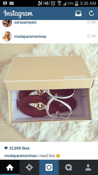 shoes michael kors flat sandals sandals white gold brown shoes