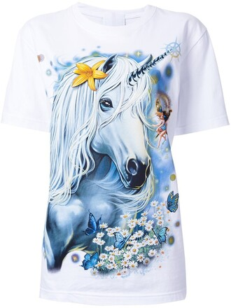 t-shirt shirt unicorn women white cotton print top