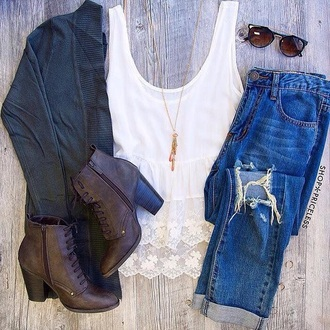 shoes ankle boots brown leather boots brown booties ripped jeans boyfriend jeans brown platform white top white white lace white t-shirt white shirt white blouse