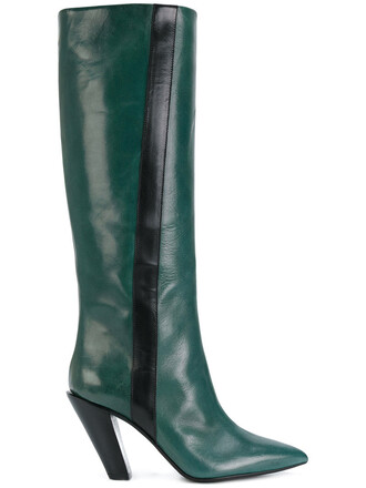 heel knee-high boots high women boots leather green shoes