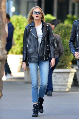 jacket jeans fall outfits denim biker jacket romee strijd streetstyle model off-duty
