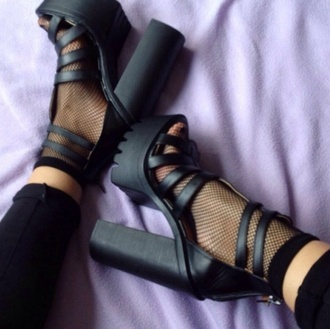 high heels think heels fishnet socks