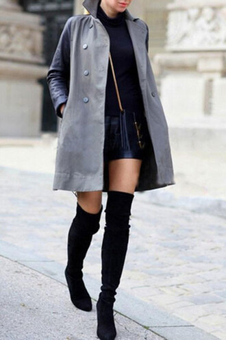 brooklyn blonde coat sweater shorts shoes bag suede boots suede shoes thigh highs high heels thigh high boots stuart weitzman fall outfits fall shoes leather shorts thigh-high boots black suede thigh high boots 2015 fall fashion
