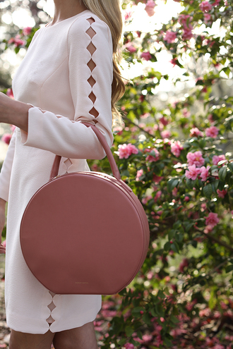 bag tumblr pink bag round bag dress mini dress date outfit date dress party dress cut-out cut-out dress white dress long sleeves long sleeve dress round tote