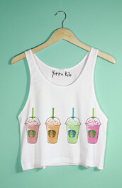 tank top,tumblr,starbucks coffee,hipster,crop tops,summer,spring outfits,yotta kilo,top,shirt,multicolor,coffee,white,trendy,urban,tumblr outfit
