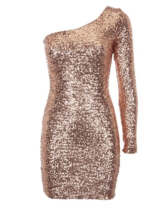 dress glitter dress pink one shoulder dress sparkling dress long sleeve