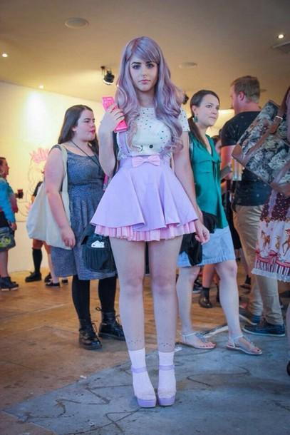 skirt skirt with suspenders pastel bow pink skirt skirt purple suspenders kawaii shirt
