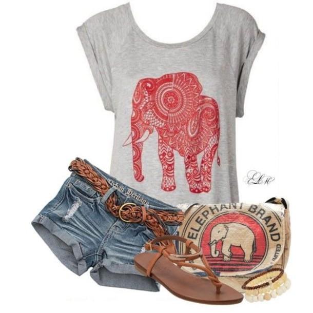 bag bohemian hippie shirt grey elephant red