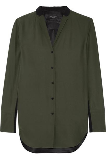 Rag & bone - Leighton Two-tone Silk-charmeuse Shirt - Army green