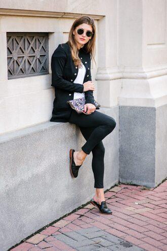 ashlee frazier blogger shirt jacket pants shoes bag sunglasses