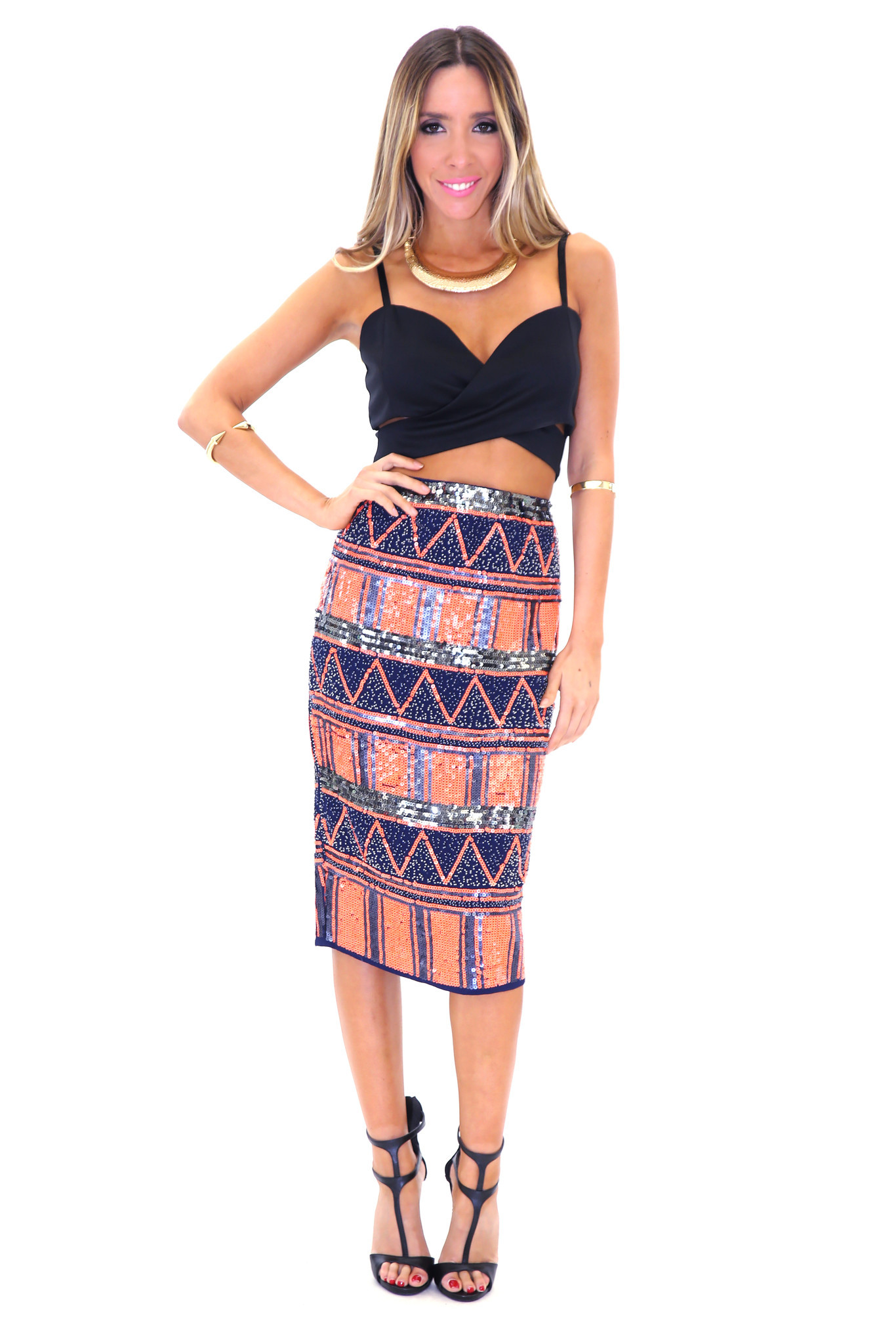 ADAHY TRIBAL SEQUIN SKIRT - NEON ORANGE | Haute & Rebellious