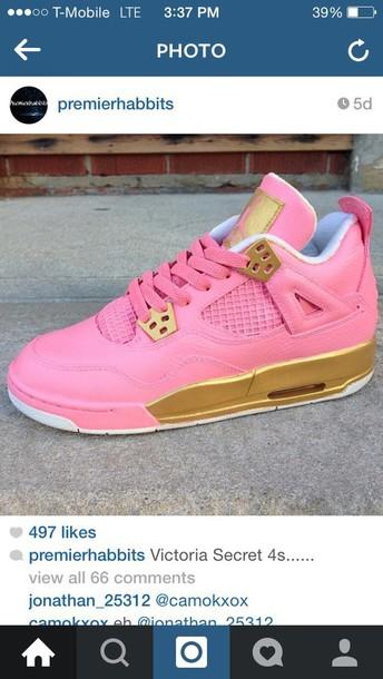 shoes pink gold jordans