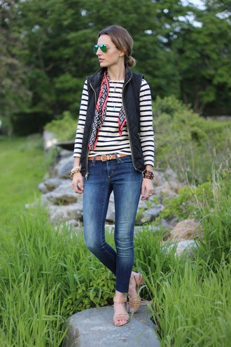 jess style rules jeans t-shirt belt jacket shoes scarf jewels sunglasses silk scarf quilted vest top stripes striped top blue jeans skinny jeans aviator sunglasses sandals