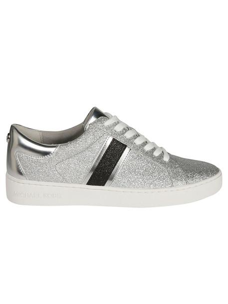 Michael Kors Keaton Striped Glitter Sneakers in silver