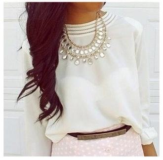 blouse white top white shirt sheer blouse chiffon blouse delicate collared shirts