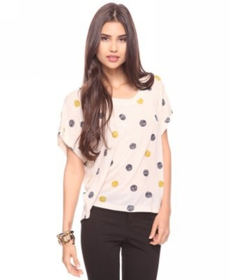 top white white top tees dots baggy