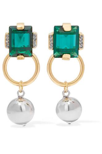 crystal earrings earrings gold silver green jewels