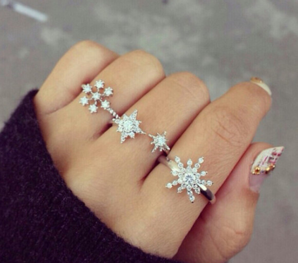 jewels rings silver rings winter snowflakes