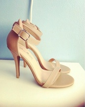 shoes,nude high heels,strappy heels,nude