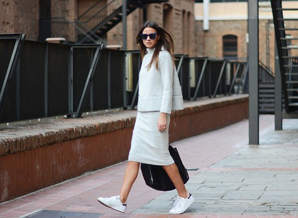 skirt bag top fashion vibe blogger sunglasses casual sneakers fall outfits turtleneck oversized sweater