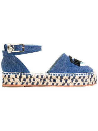 women espadrilles leather cotton blue shoes