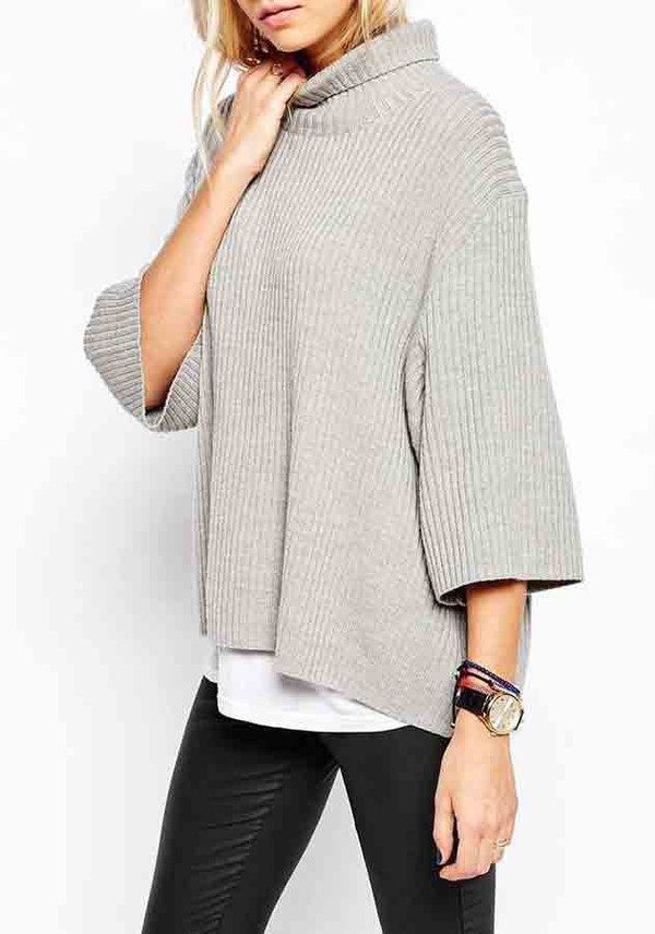 Sweater: grey turtleneck dress, grey turtle neck, grey turtleneck ...